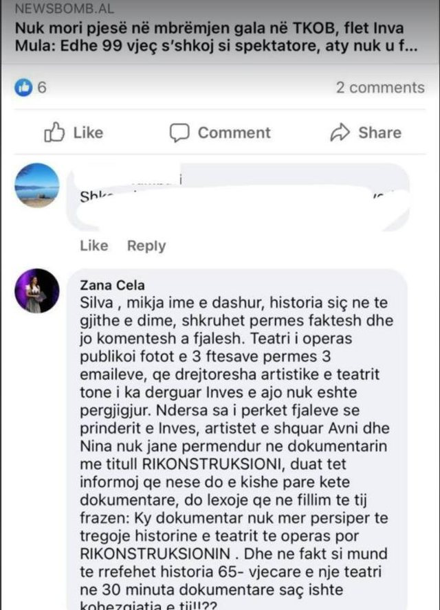 Zana Çela gives her version of why Nina and Avni Mula were not in the