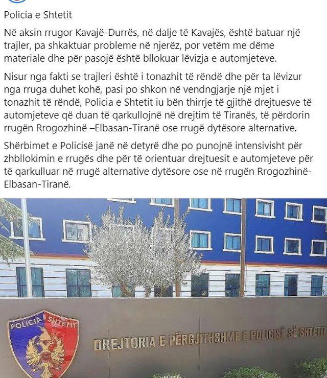 Trajleri bllokon aksin rrugor Kavajë-Durrës: Njoftimi me