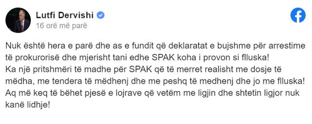 Lutfi Dervishi for the arrest of Thoma Gëllçi: SPAK part of the