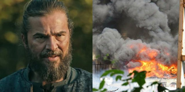 Ertugrul' in flames, powerful fire involves shuffling the serial